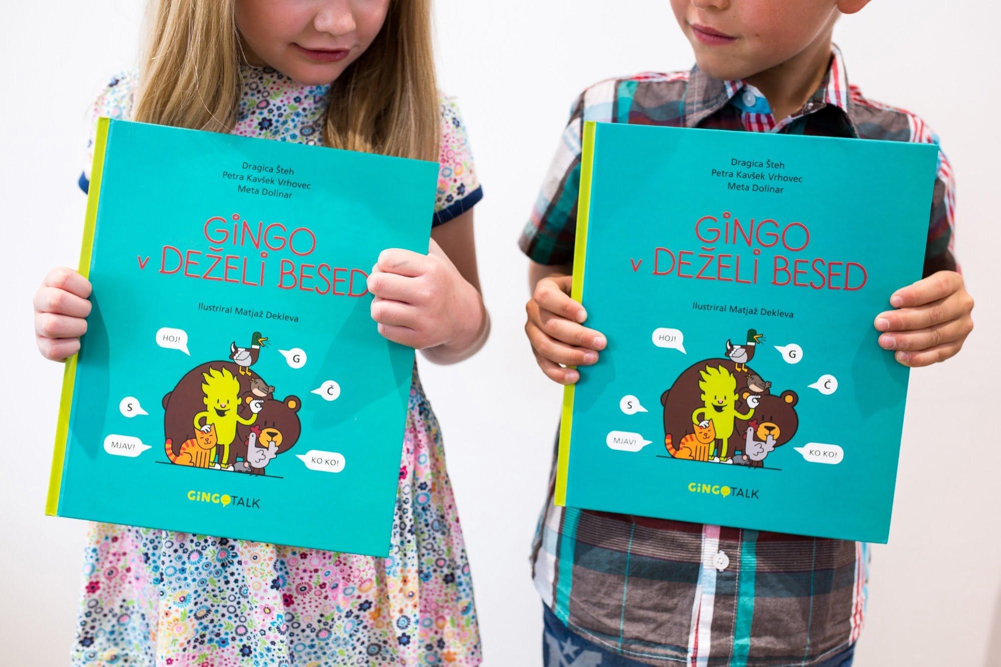 Knjiga Gingo v deželi besed za spodbujanje govora in jezika.